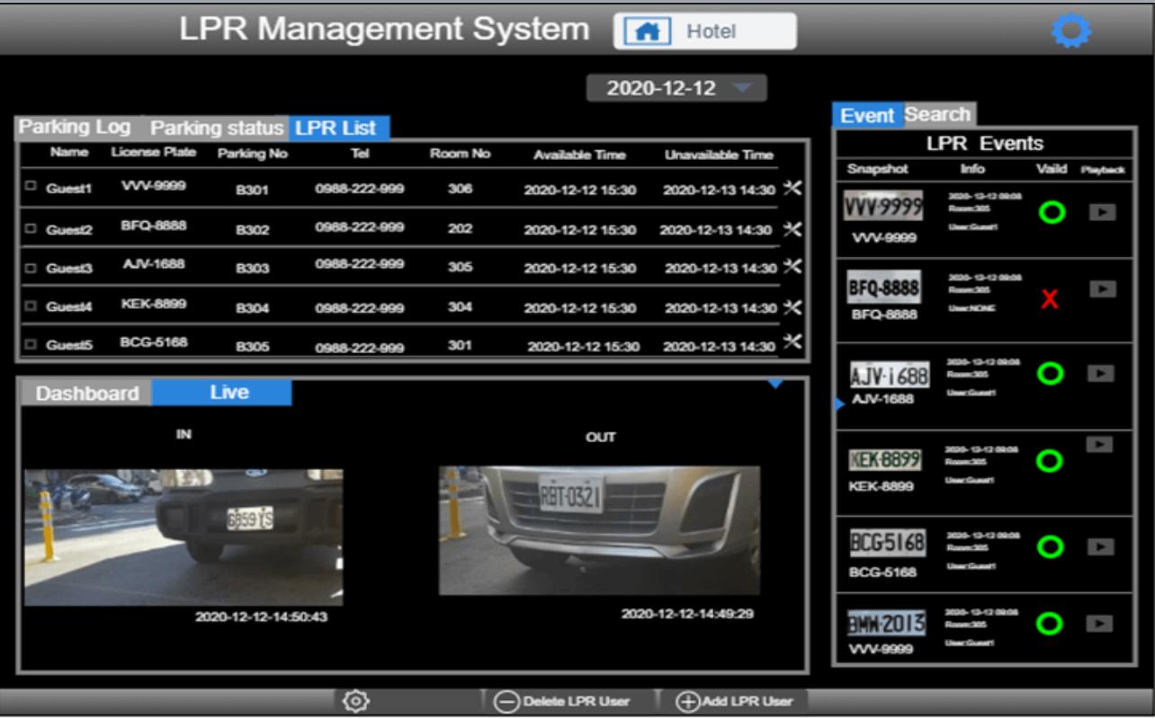 車牌辨識中央管理系統畫面